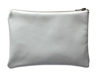 White leather zipper pouch