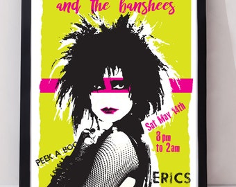 siouxsie and the banshees concert unframed music poster. Specially created. 2 options