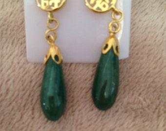 Jade style droplet earrings