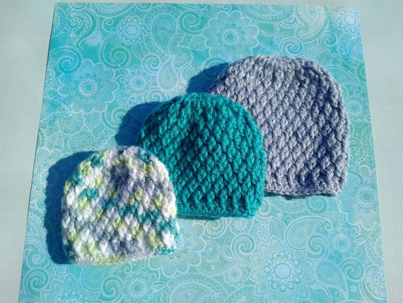Single Preemie Boy or Girl Textured Crocheted Beanie. Hat sizes 0, 1, 2 and 3.
