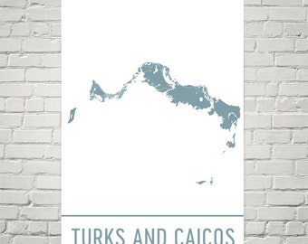 Turks and Caicos Map, Turks and Caicos Art Print, Turks and Caicos Art Poster, Turks and Caicos Wall Art, Map of Turks and Caicos, Art Print