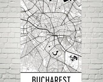 Bucharest Map, Bucharest Art, Bucharest Print, Bucharest Romania Poster, Bucharest Wall Art, Bucharest Gift, Bucharest Decor, Map Art Print