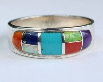 Sterling Silver Inlay Inlaid Native American Indian Navajo Turquoise Opal Lapis Spiny Oyster Sugalite Gaspeite Coral