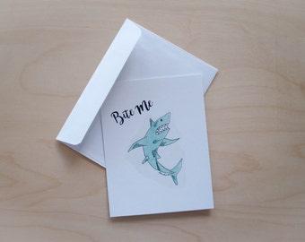 Bite Me Sharkie Illustrated Notecard / Art Print