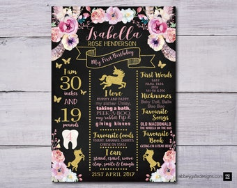 Unicorn First Birthday Poster, Unicorn 1st Birthday Poster,  Unicorn First Birthday Chalkboard, Unicorn 1st Birthday Chalkboard Poster