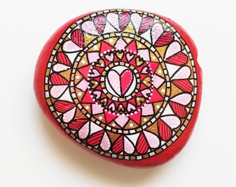 Hand Painted Stone Valentine's Day Edition