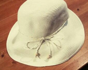 Vintage Festival Sun Hat White Trixie From Brim Festival Floppy Retro Hippie Indie
