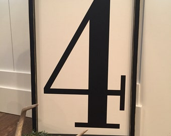 Large 24X16 number sign | framed number sign | fixer upper number sign | vintage number sign | number sign | alphabet sign | monogram