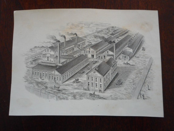 SALE 30% OFF Small Engraving Etching Print of a Factory or Industrial Town in Good Condition!