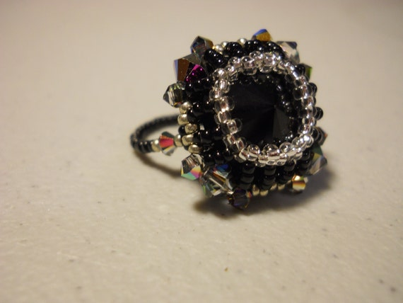 Black Swarovski Rivoli Crystal Ring