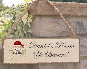 personalised pirate sign fun gift handcrafted traditional style sign