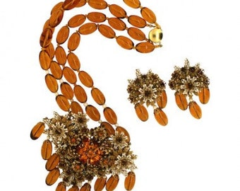 Stanley Hagler 1980s Amber Floral Necklace and Earrings Set