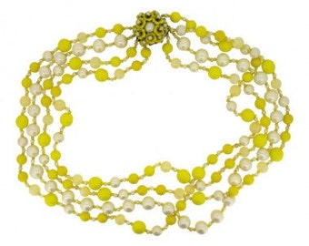 Miriam Haskell 1950's Yellow and Pearl Glass Bead Vintage Necklace