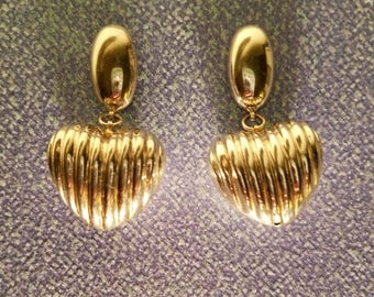 Sterling Silver Bubble Heart Dangle Earrings Vintage 1980's