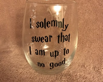 I Solemnly Swear That I Am Up To No Good Marauders Map Harry Potter Inspired Stemless Wine Glass