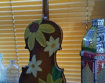 hand painted sunflower vintage violin