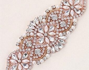 Rose Gold Applique, Bridal Applique, Rhinestone Applique, Beaded Applique, Crystal Applique, Pearl Applique, Wedding Applique