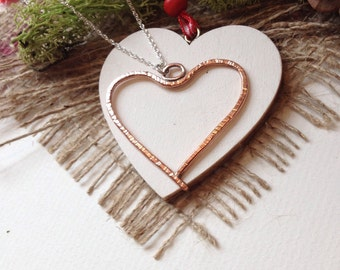 Hand made copper heart pendant