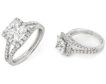14K White Gold Princess Halo Custom Engagement Ring