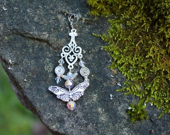 Swarovski crystal and butterfly pendant