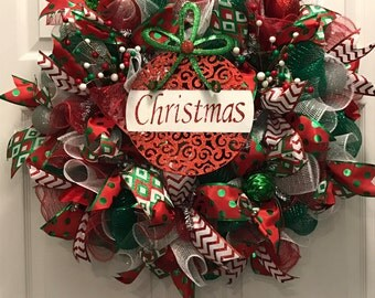 Christmas Wreath, Holiday wreath, red and green wreath, Winter Wreath