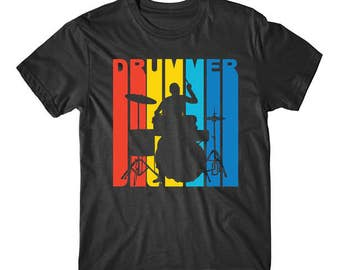 Vintage 1970's Style Drummer Silhouette Retro Music T-Shirt