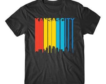 Retro 1970's Style Kansas City Missouri Downtown Skyline T-Shirt