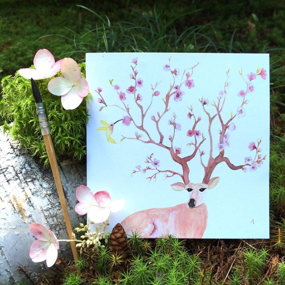 "2 greeting cards ""4 seasons - spring"" handmade watercolor * 2 Greetings cards ""4 Seasons - Spring"" handmade watercolor"