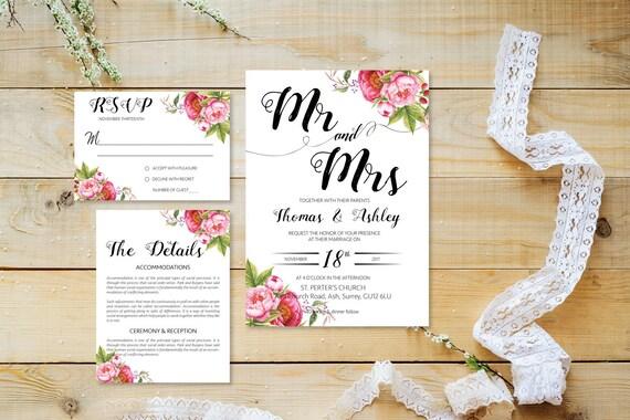 Flower wedding invite_35,Printable Wedding Invitation Suite,Wedding Invite Set,Wedding Printable,Calligraphy