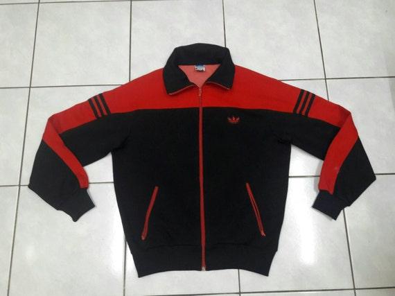 Vintage Adidas trefoil Black Red track sweatshirt jacket sweater