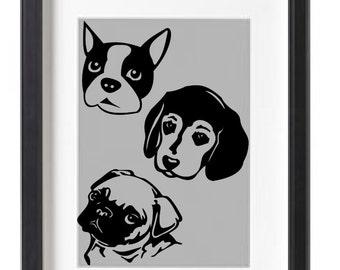 Dog Head Vinyl Decal - Beagle, Pug, Boston Terrier