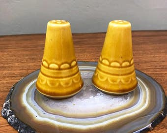 Salt and Pepper Shakers - Yellow Lace Detail - Vintage