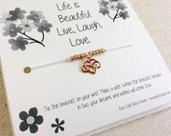Infinity Wish Bracelet, Infinity Bracelet, Heart Wish Bracelet, Infinity Jewelry For Daughters, Gift For Her, Rose Gold Bracelet