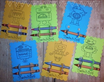 Robot Party Favors, Coloring Robot Thank You Cards, Custom Party Favors, Robot Party Decor, Custom Party Thank You Favors, Thanks A Bot