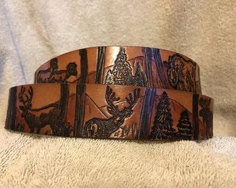Solid leather Big game belt