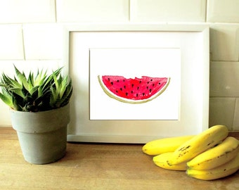 Watermelon art decor - kitchen wall poster - watermelon print -  fruit wall art - fruit print - kitchen decor - kitchen wall art - pink