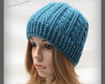 Teal cable hat - crochet hat with cable design - beanie hat - crochet beanie - teen adult womens hat - textured hat
