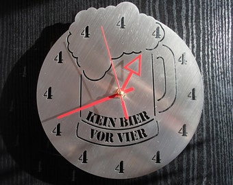 Wall clock no beer before four stainless steel Mural art watch design wall clock alcohol