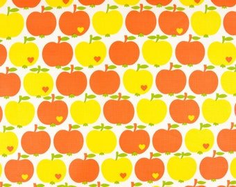 Coated cotton apples orange yellow byGraziela (19,50 EUR / meter)