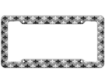 Fleur De Lis Black White Pattern License Plate Frame