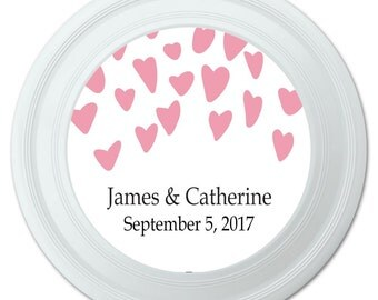 Falling Hearts Pink Wedding Marriage Bridal Shower Personalized Flying Disc