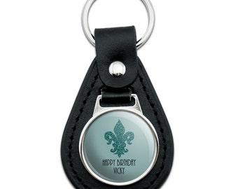 Glitter Fleur De Lis Wedding Shower Personalized Black Leather Keychain
