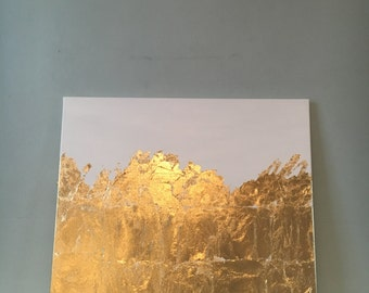 White and Gold Leaf Abstract Canvas