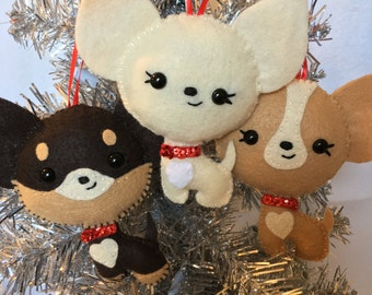 3 Pack Felt Chihuahua Ornaments