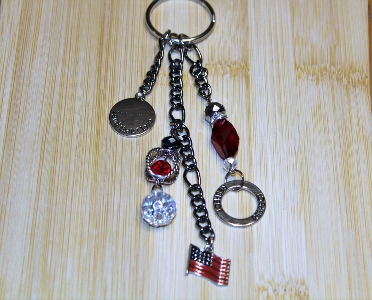 Keychains Lanyards Circuit Board Glass Pendant Photo Necklace Keychain Key Chain Patriotic Flag Beads Charms Heart
