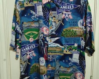 New York Yankees vintage Hawaiian shirt sz medium