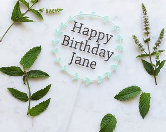 Wreath Birthday - Cake Topper - Mint Green - Custom - Happy Birthday
