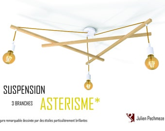 Lustre Asterism*, white and mustard scandinavian chandelier