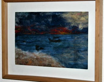 Tropical Sunset - framed needle felted picture