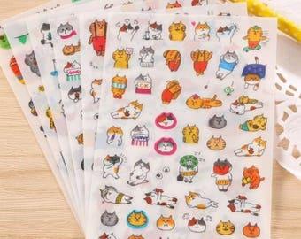 6 sheets stickers super kawaii kittens!